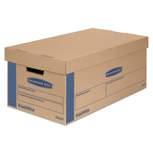 SmoothMove Prime Moving  Storage Boxes, Small, Half Slotted Container (HSC), 24 x 12 x 10, Brown Kraft/Blue, 8/Carton