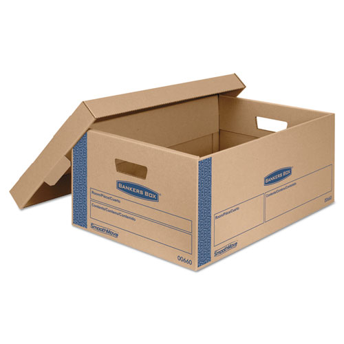 SmoothMove Prime Moving  Storage Boxes, Large, Half Slotted Container (HSC), 24 x 15 x 10, Brown Kraft/Blue, 8/Carton