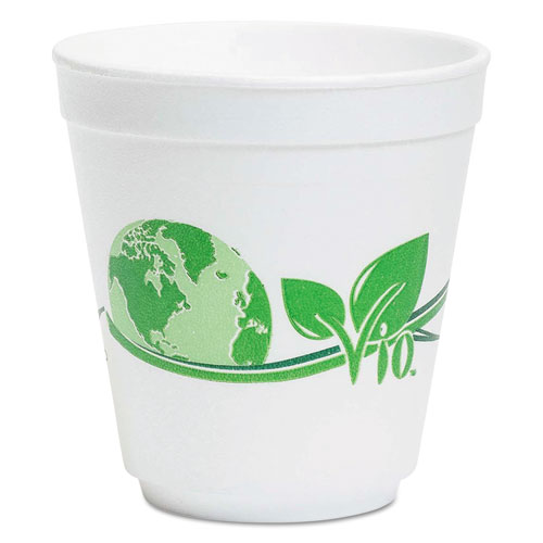 WinCup® Vio Biodegradable Food Containers, 16 oz Bowl, Foam, White/Green, 500/Carton