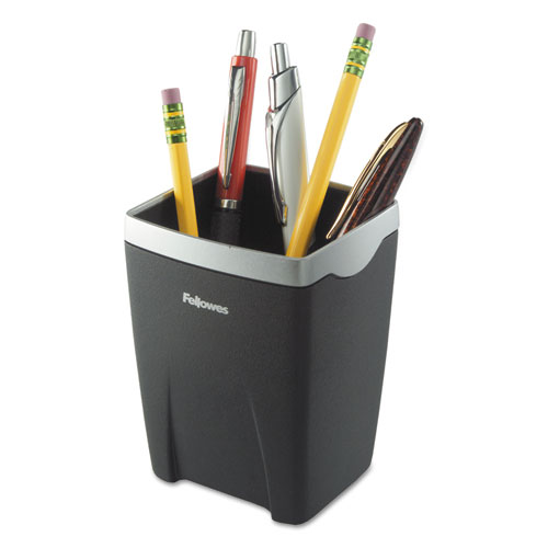 Office Suites Divided Pencil Cup, Plastic, 3 1/16 x 3 1/16 x 4 1/4, Black/Silver | by Plexsupply