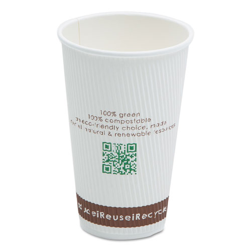 Compostable Insulated Ripple-Grip Hot Cups, 16oz, White, 25/Pack C016RNPK
