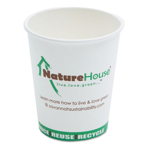 Compostable Live-Green Art Hot Cups, 8oz, White, 1000/Carton C008CT