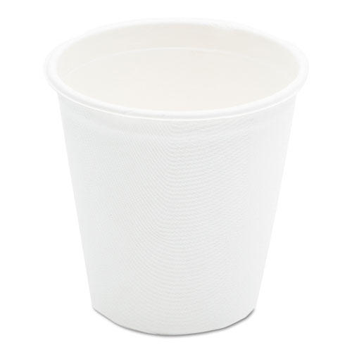 Compostable Sugarcane Bagasse Hot Cups, 12oz, White, 50/Pack L052