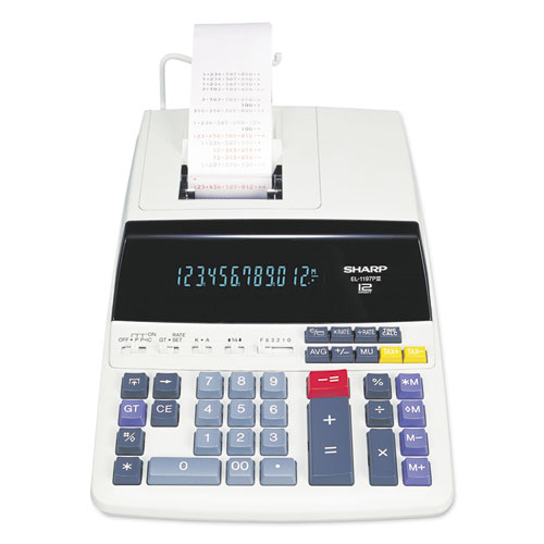 Sharp® EL1197PIII Two-Color Printing Desktop Calculator, Black/Red Print, 4.5 Lines/Sec