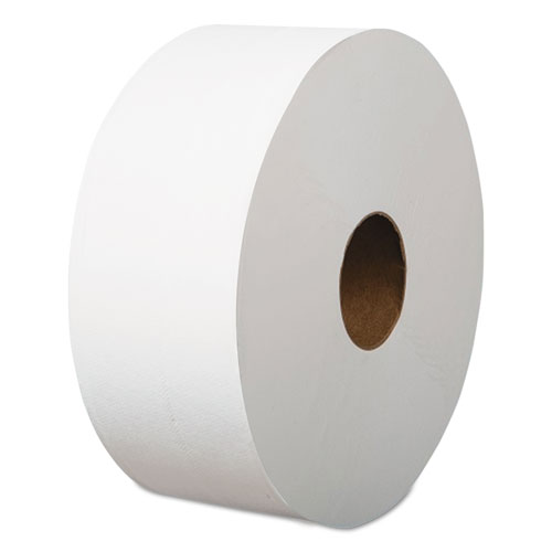 Jumbo Roll Bathroom Tissue, Septic Safe, 1-Ply, White, 3.4 x 1200 ft, 12 Rolls/Carton