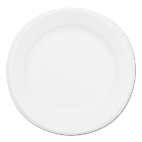 Compostable Sugarcane Bagasse 6 in Plate, Round, White, 50/Pack P001