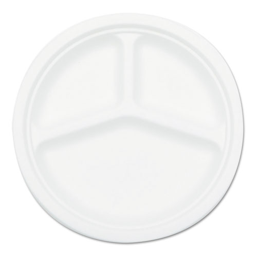 Compostable Sugarcane Bagasse 10 in 3-Compartment Plate, Round, White, 50/Pack P007