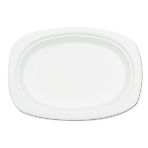 Compostable Sugarcane Bagasse Oval Plate, 9 x 6.5, White, 50/Pack | by Plexsupply