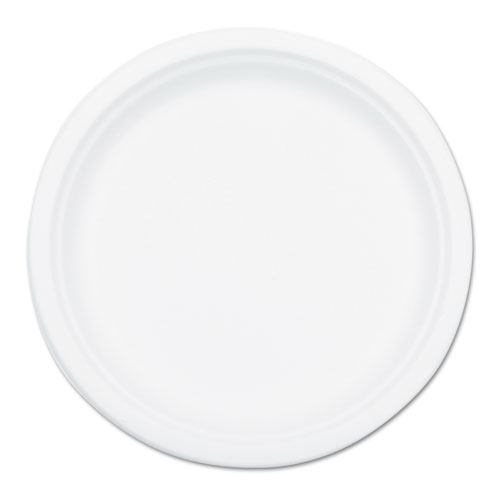 Compostable Sugarcane Bagasse 10 in Plate Round, White, 50/Pack P005