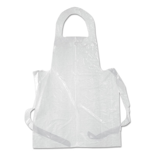 Poly Apron, White, 28 in. x 55 in., 1 mil., One Size Fits All, 100/Pack