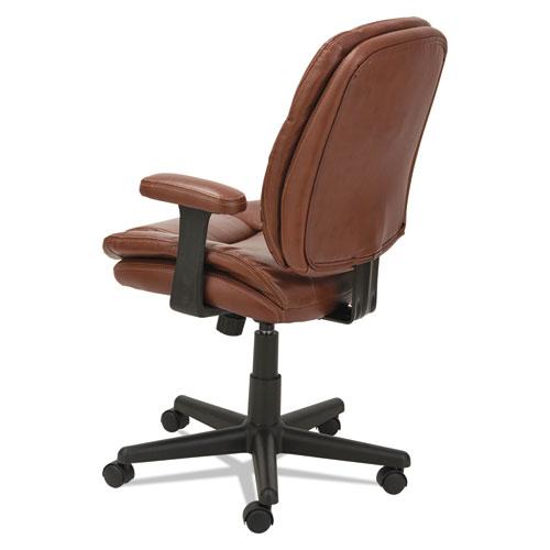 Swivel Tilt Leather Task Chair Fixed T Bar Arms Chestnut