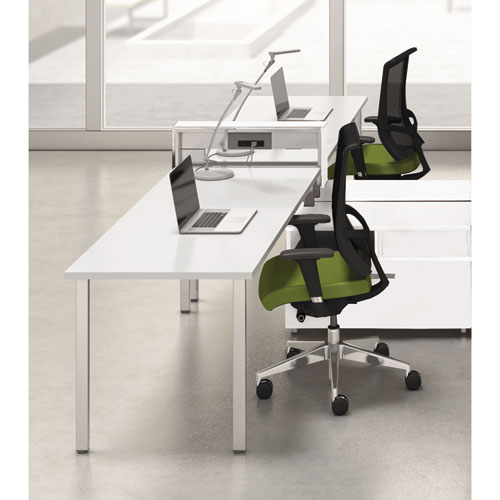 Mayline® e5 Two-Person Workstation with Beltway, 123-1/2w x 73d x 29-1/2h, White
