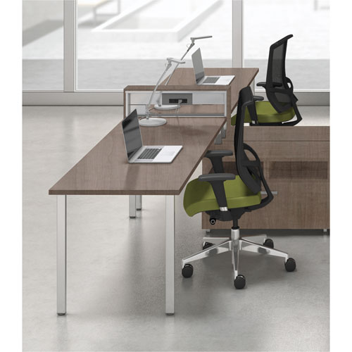 Mayline® e5 Two-Person Workstation with Beltway, 123-1/2w x 73d x 29-1/2h, Cocoa