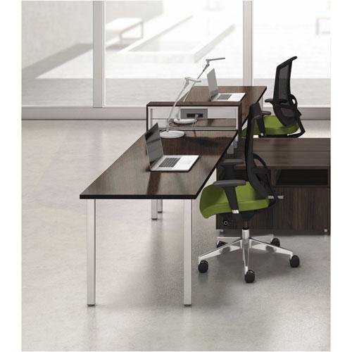 Mayline® e5 Two-Person Workstation with Beltway, 123-1/2w x 73d x 29-1/2h, Walnut