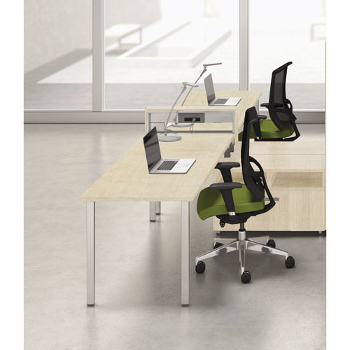 Mayline® e5 Two-Person Workstation with Beltway, 123-1/2w x 73d x 29-1/2h, Summer Suede