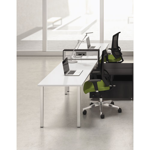 Mayline® e5 Two-Person Workstation with Beltway, 123-1/2w x 73d x 29-1/2h, White/Raven