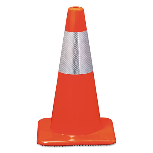 Reflective Safety Cone, 11 1/2 x 11 1/2 x 18, Orange 90128R