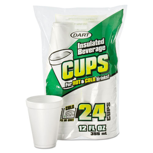 Small Foam Drink Cup, 12 oz, Hot/Cold, White, 24/Bag, 12 Bags/Carton 12JP24