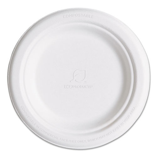 "Renewable & Compostable Sugarcane Plates, 6"", 1000/Carton 