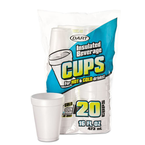 Large Foam Drink Cup, 16 oz, Hot/Cold, White, 20/Bag, 12 Bag/Carton 16FP20