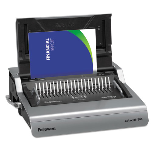 Galaxy 500 Electric Comb Binding System, 500 Sheets, 19 5/8x17 3/4x6 1/2, Gray | by Plexsupply
