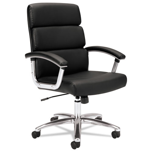 Traction High-Back Executive Chair, Supports up to 250 lbs., Black Seat/Black Back, Polished Aluminum Base