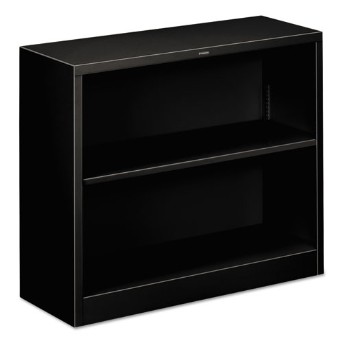 Metal Bookcase, Two-Shelf, 34-1/2w x 12-5/8d x 29h, Black | by Plexsupply