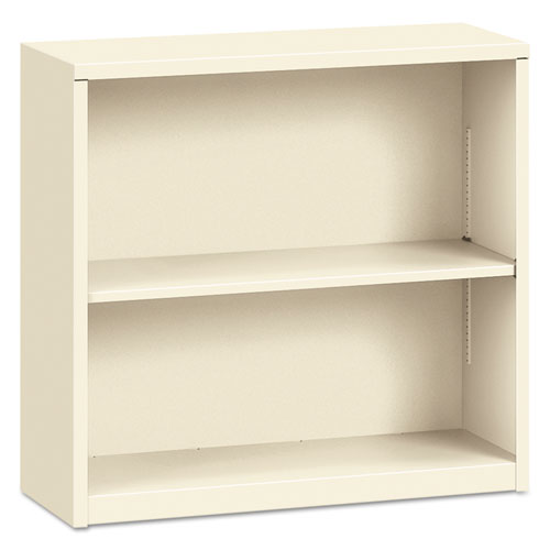 Metal Bookcase, Two-Shelf, 34-1/2w x 12-5/8d x 29h, Putty | by Plexsupply