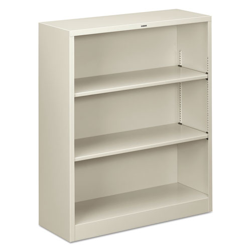 Metal Bookcase, Three-Shelf, 34-1/2w x 12-5/8d x 41h, Light Gray | by Plexsupply