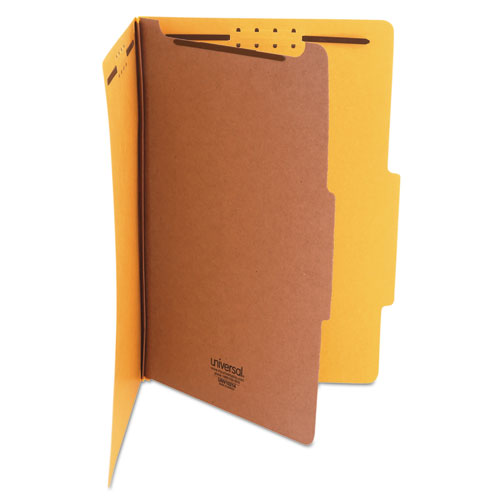 Bright Colored Pressboard Classification Folders, 1 Divider, Legal Size, Yellow, 10/Box
