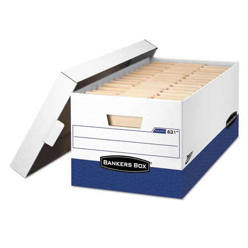 "PRESTO Heavy-Duty Storage Boxes, Letter Files, 13"" x 16.5"" x 10.38"", White/Blue, 12/Carton 