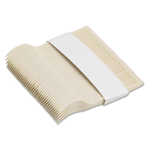 SmartStock Plastic Cutlery Refill, Forks, 6.5, Series-O Mediumweight Bio-Blend, Beige, 40/Pack, 24 Packs/Carton