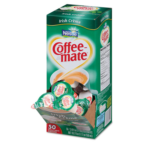 Liquid Coffee Creamer, Irish Crème, 0.375 oz Mini Cups, 50/Box, 4 Box/Carton 35112CT