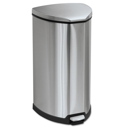 Step-On Waste Receptacle, Triangular, Stainless Steel, 10 gal, Chrome/Black | by Plexsupply