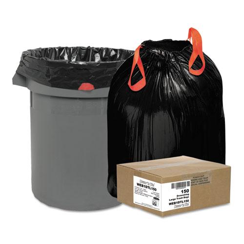 "Draw 'n Tie® Heavy-Duty Trash Bags, 33 gal, 1.2 mil, 33.5"" x 38"", Black, 150/Box"
