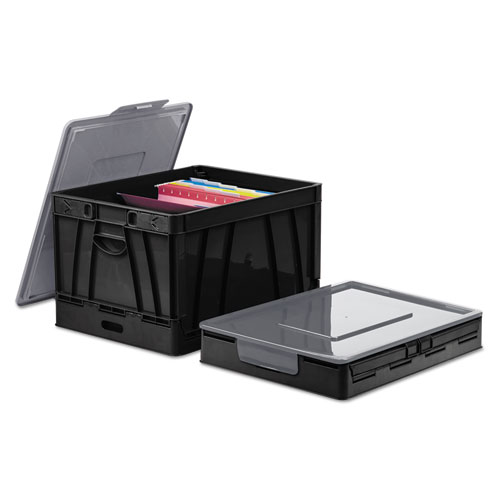 Collapsible Crate, Letter/Legal Files, 17.25 x 14.25 x 10.5, Black/Gray, 2/Pack
