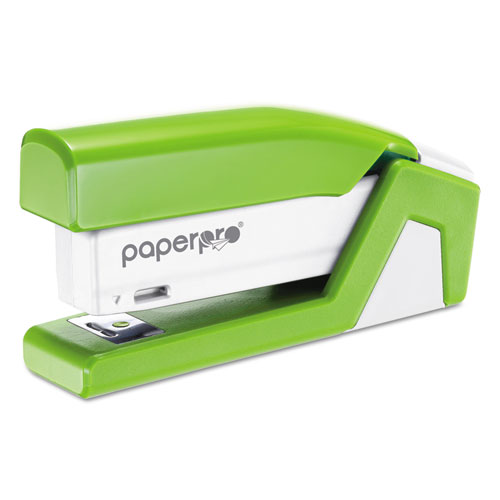 InJoy Spring-Powered Compact Stapler, 20-Sheet Capacity, Green