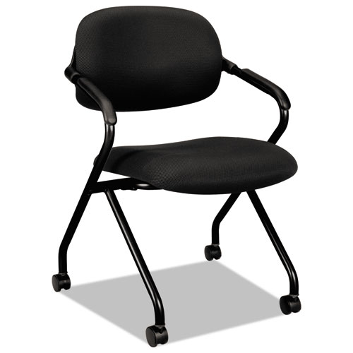 HVL303 Nesting Arm Chair, Black Seat/Black Back, Black Base