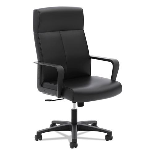 HVL604 High-Back Executive Chair, Supports up to 250 lbs., Black Seat/Black Back, Black Base