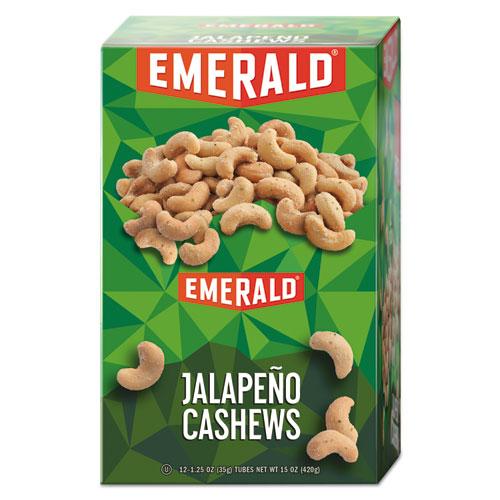 Snack Nuts, Jalapeno Cashews, 1.25 oz Tube, 12/Box