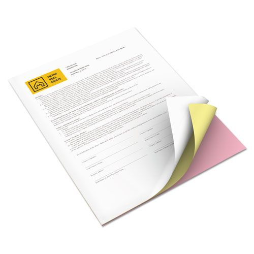 Vitality Multipurpose Carbonless 3-Part Paper, 8.5 x 11, Canary/Pink/White, 5, 010/Carton