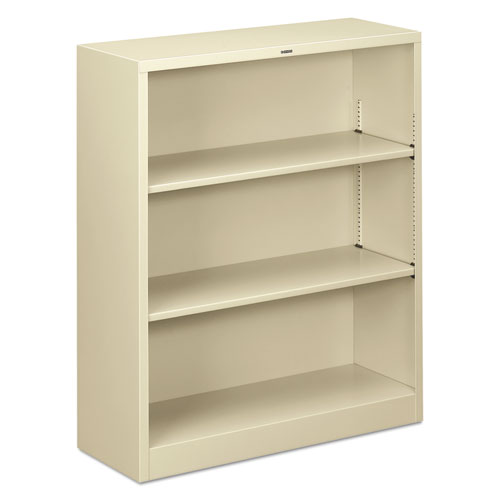 Metal Bookcase, Three-Shelf, 34-1/2w x 12-5/8d x 41h, Putty | by Plexsupply