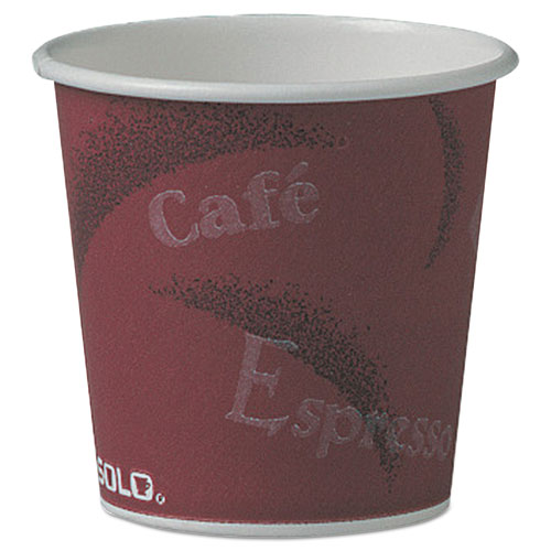 Polycoated Hot Paper Cups, 4 oz, Bistro Design, 50/Pack, 20 Pack/Carton 374SI
