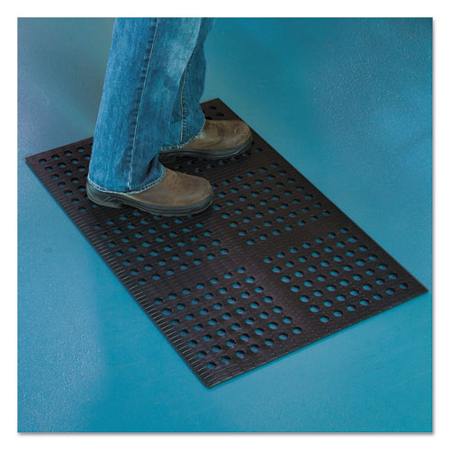 Pro Lite Four-Way Drain Mat, 24 x 36, Black