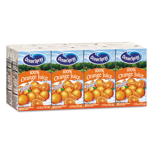 Aseptic Juice Boxes, 100 Orange, 4.2oz, 40/Carton