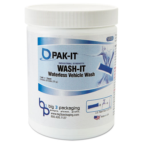 PAK-IT® Wash-It Waterless Vehicle Wash, Breezy Scent, 20 PAK-ITs/Jar