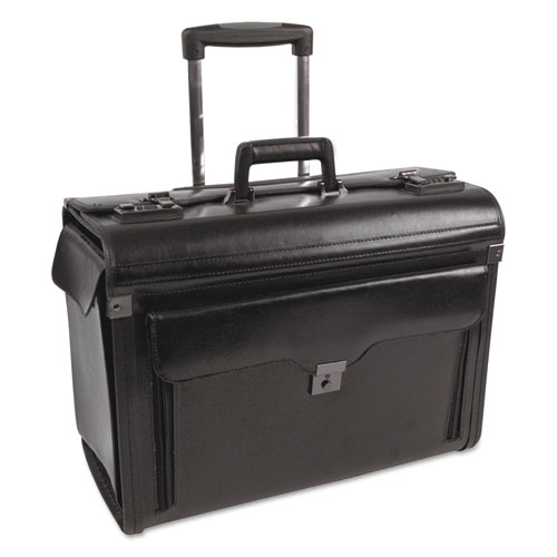 Catalog Case on Wheels, Leather, 19 x 9 x 15-1/2, Black