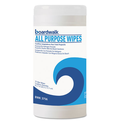 Natural Multi-Purpose Hydrogen Peroxide Wipes, 7x8, Unscented, 75/Canister, 6/CT
