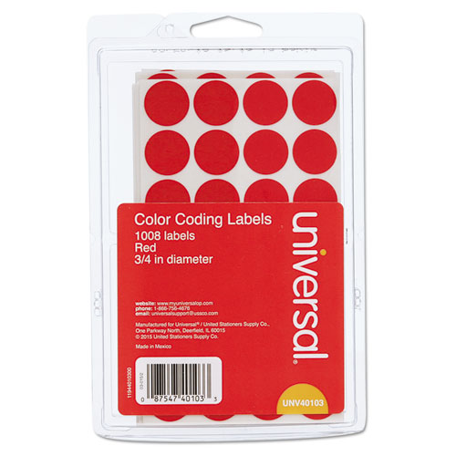 Self-Adhesive Removable Color-Coding Labels, 0.75 dia., Red, 28/Sheet, 36 Sheets/Pack