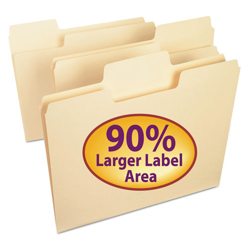 SuperTab Top Tab File Folders, 1/3-Cut Tabs, Letter Size, 11 pt. Manila, 24/Pack